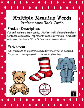 Multiple Meaning Words Task Cards with Enrichment Activity