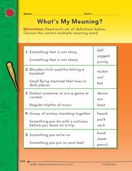 Multiple Meaning Words--What's My Meaning? Literacy Center (eLesson)
