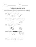 Multiple Meaning Words Worksheet