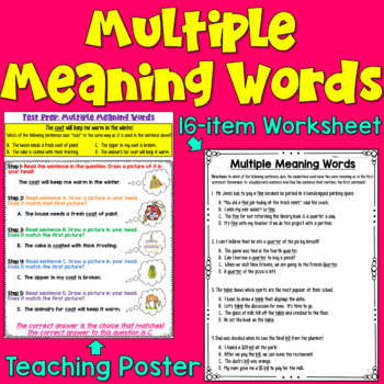 multiple meaning words worksheets teaching resources  teachers pay   multiple meaning words worksheets  poster for test prep can be an  assessment
