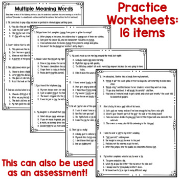 Multiple Meaning Words Worksheets & Poster for Test Prep (can be an assessment)