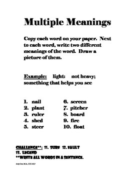 Multiple Meaning Words Worksheets