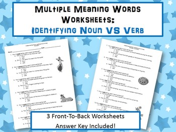 Multiple Meaning Words Worksheets:  Noun or Verb?