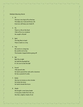 Multiple Meaning Words and Worksheets