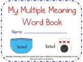 Multiple Meaning Words flashcards, Book, Workpage, or Cent