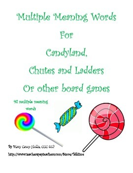 Multiple Meaning Words for Candyland, Chutes and Ladders or Other Board Games