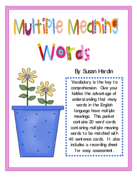 Multiple Meaning Words through Matching Games