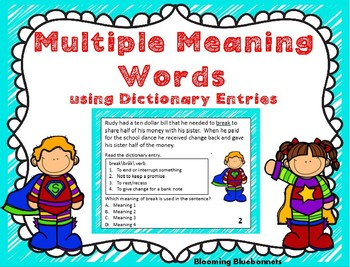 Multiple Meaning Words using Dictionary Entries