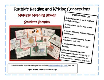 Multiple Meaning Words with Word Boxes for 72 Words