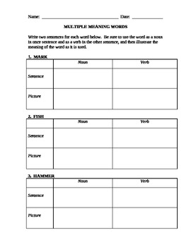 Multiple Meaning Words worksheet