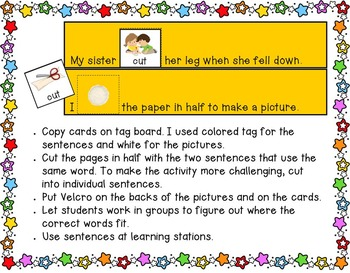 Multiple Meaning Words~Homonyms with Worksheets to Illustrate