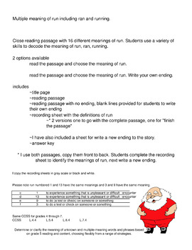 Christmas Activity Reading Passage with Multiple Meaning of Run