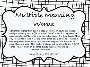 Multiple Meaning words, Homonyms
