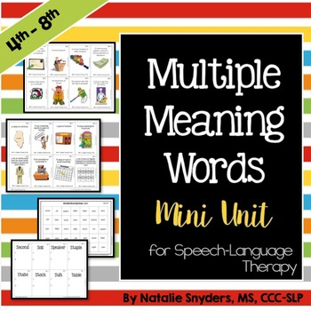 Multiple Meaning Words Mini Unit for Speech Language Therapy