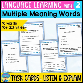 Multiple Meaning Critical Thinking Task Cards- Speech, Lan