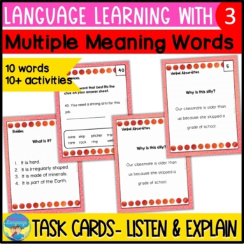 Multiple Meaning Vocabulary Inference Task Cards: Reading,