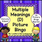 Homonyms Picture Bingo: Multiple Meanings Vocabulary D