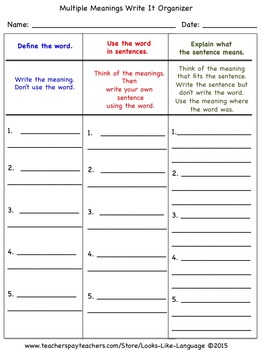 Homonyms Set 4 Picture Bingo for Multiple Meanings Vocabulary