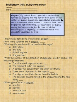 Multiple Meanings Dictionary Skill