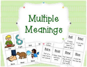 Multiple Meanings - Homophones *Freebie*