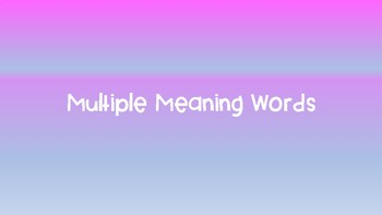 Multiple Meanings Lesson & Activty