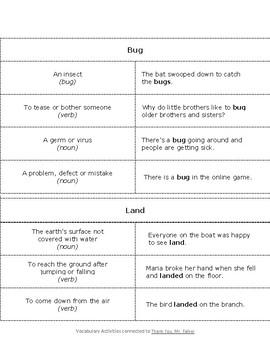 Multiple Meanings Sort (from Stellaluna)