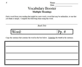Multiple Meanings - Vocabulary Booster