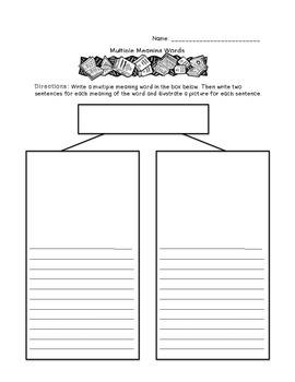 Multiple Meanings Worksheet - Fill In