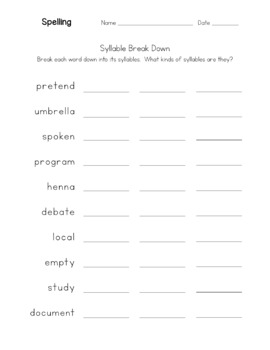 Multiple Mixed Open, Closed & VCE Syllables- Spelling - Lists, Games, Activities
