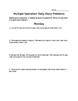 Multiple Operation Story Problems