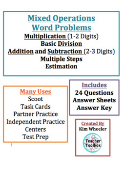 Multiple Operations Review Word Problems 3rd Grade Scoot o