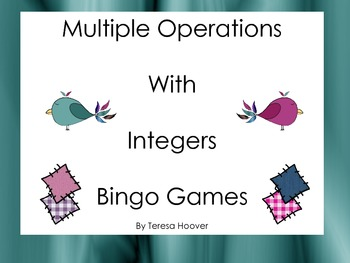 Multiple Operations with Integers Bingo Games