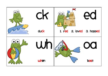 Multiple Phonogram Flash Cards - Beach Froggies