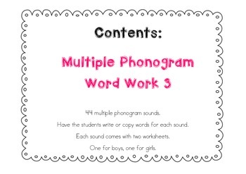 Multiple Phonogram Word Work 3
