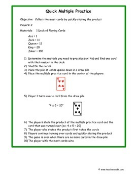 Multiplication Fact Fluency Card Game - Math Centers