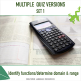 Multiple Quiz Versions:Set 1- Identify Functions and Deter