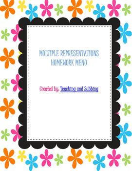 Multiple Representations Homework Menu