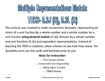 Multiple Representations TEKS 5.3J, 5.3L