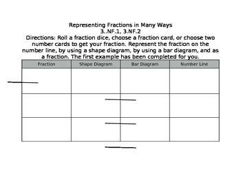 Multiple representations of fractions worksheet by brandi boothby multiple representations of fractions worksheet ccuart Images