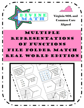 Multiple Representations of Functions File Folder Match Real World Edition