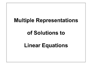 Multiple Representations of Linear Equations Placemat