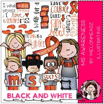 Multiple Sclerosis Awareness clip art - Black and White - by Melonheadz