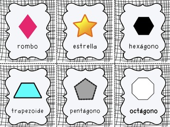 Multiple Shape Flashcards in Spanish