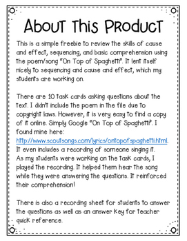 Multiple Skill Review (Cause/Effect, Sequencing, Comprehension) FREEBIE