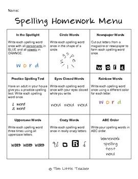 Multiple Spelling Homework Menus for Grades 2, 3, 4