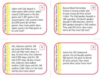 Multiple-Step Addition & Subtraction Word Problem Task Cards