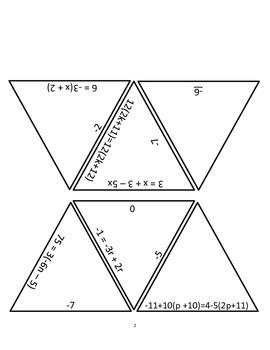 Multiple Step Algebra Problem Review Puzzle
