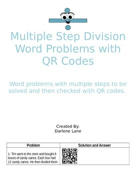 Multiple Step Division Word Problems with QR Code