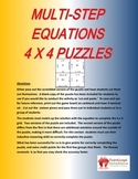 Multiple Step Equations 4x4 Math Puzzles
