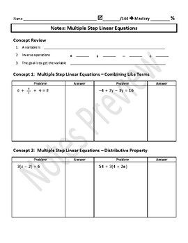 Multiple Step Linear Equations